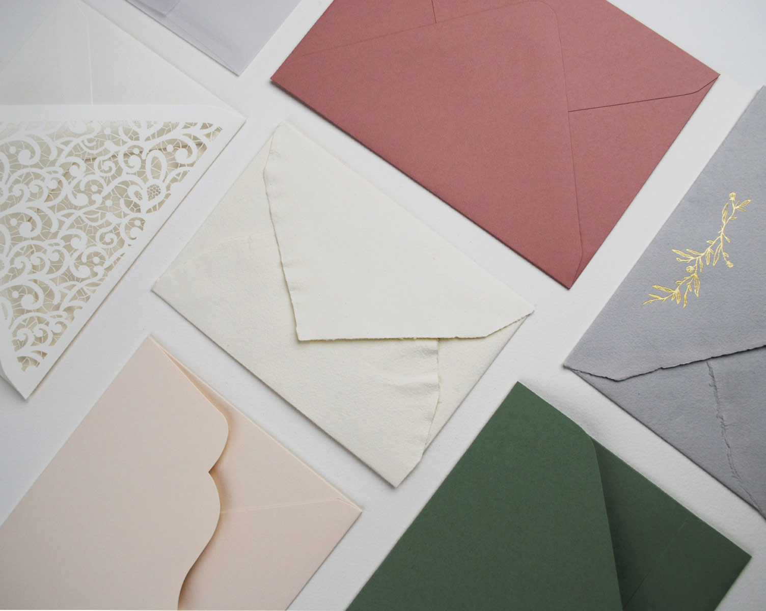 Variety of envelopes from Cornwall Stationery (lasercut, foil, 100% cotton, deckle edged, handmade, scalloped edged)